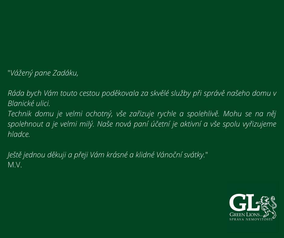 Kladné hodnocení služeb Green Lions